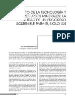 EL RETO DE LA TECNOLOGÍA Y LOS RECURSOS MINERALES