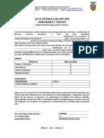 Acta de Entrega de Recepcion Textos y Uniformes
