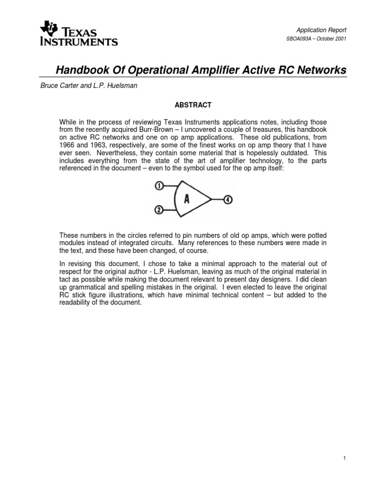 Op Amp Active Rc Networks Operational Amplifier Circuit Description The Resonance Is Formed By Coil L1 And C1b