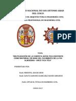 REUTILIZACION DE LA CARPETA ASFALTICA EXISTENTE  COMO MATERIAL DE BASE DEL PAVIMENTO DE LA VIA  ALMUDENA- ARCO TICA TICA