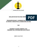 Discours politique générale Jacques Lalié