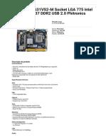 Compujob - Impressão de Produto Placa Mãe G31VS2-M Socket LGA 775 Intel G31 e G37 DDR2 USB 2