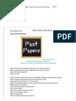 General Knowledge_ PMS PAPER 2006 MCQs