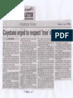 Manila Bulletin, July 16, 2019, Cayetano urged to respect true minority leader.pdf