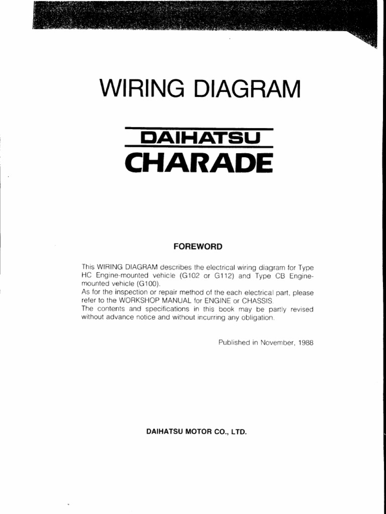 Daihatsu Charade Fuse Box - Wiring Diagram Information on