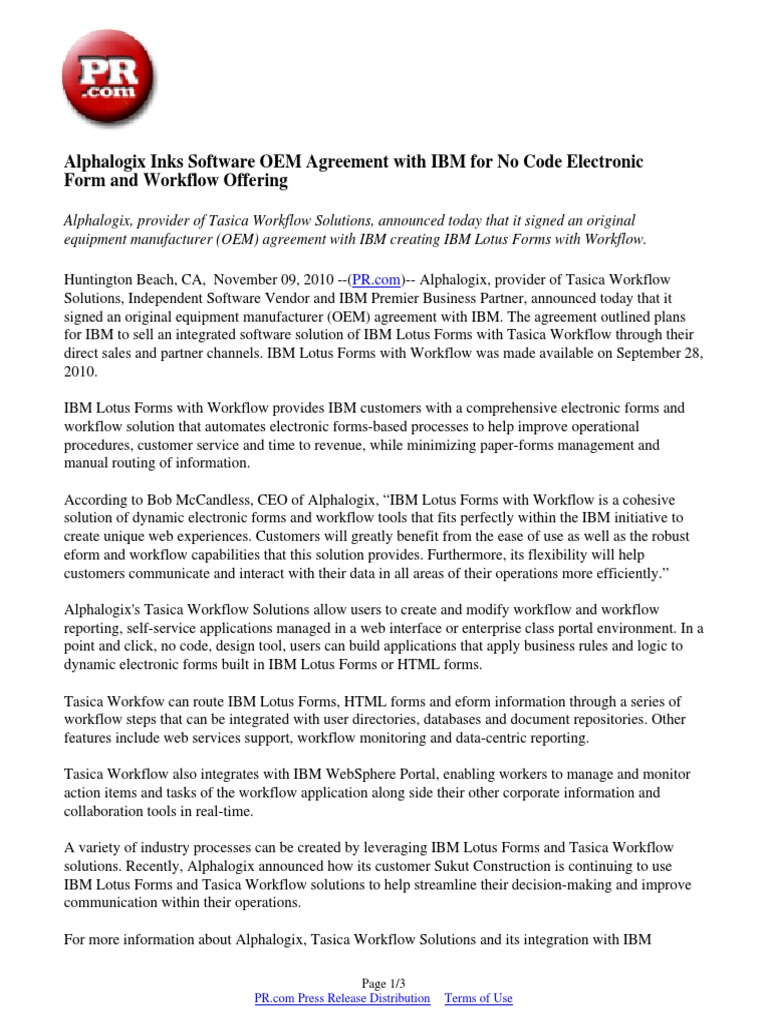 Alphalogix inks software oem agreement with ibm for no code alphalogix inks software oem agreement with ibm for no code electronic form and workflow offering workflow business process platinumwayz