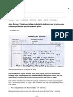 Alan Turing_ Péssimas Notas Do Boletim Indicam Que Professores Não Suspeitavam Que Ele Era Um Gênio - BBC News Brasil