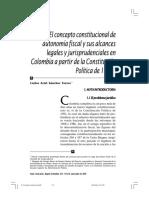 El Concepto Constitucional de Autonomia Fiscal y Su Alcance