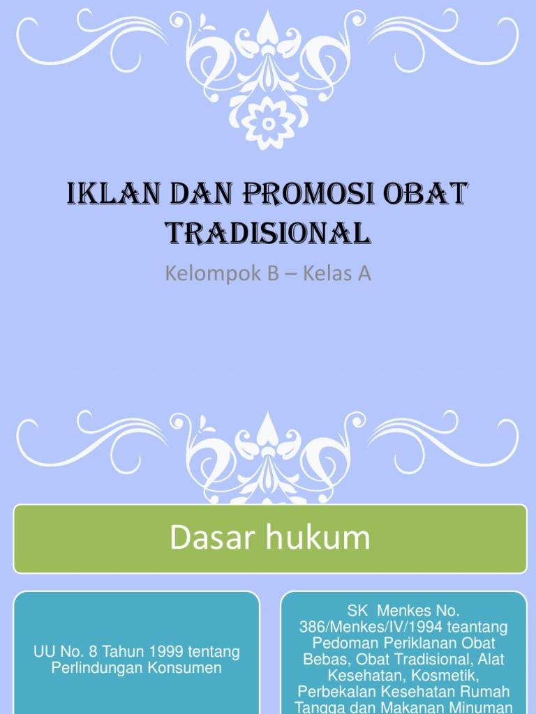 Iklan Dan Promosi Obat Tradisional 1 Pdf
