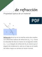 Índice de Refracción - Wikipedia, La Enciclopedia Libre