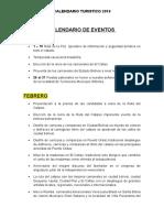 CALENDARIO EVENTOS 2019