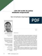 CALRIFICACION ACEITE DE PALMA MEDIANTE EVAPORACION