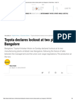 Toyota Declares Lockout at Two Plants Near Bangalore