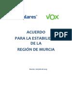 Acuerdo entre el PP y Vox para la estabilidad de la Región de Murcia
