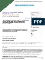 Caracterización Microestructural y Mecánica de Aceros de Fase Dual (Ferrita-martensita), Obtenidos Mediante Procesos Térmicos y Termomecánicos