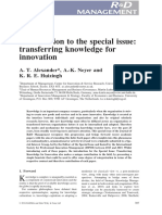 [Ale16-2] Introduction to the Special Issue_Transferring Knowledge for Innovation
