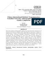 Chinese International Students' Experiences in a Canadian University Ethnographic Inquiry with Gender Comparison Lin Ge, Douglas Brown, Douglas Durst