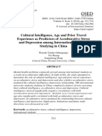 Cultural intelligence, Age and Prior Travel Experience as Predictors of Acculturative Stress and Depression among International Students Studying in China Werede Tareke Gebregergis, Fei Huang, Jiangzhong Hong