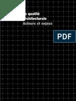La Qualité Architecturale Acteurs Et Enjeux - Véronique Biau, François Lautier