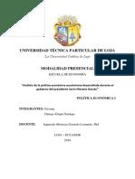 Politicas Implemetadas en El Gobierno de Lenin Moreno