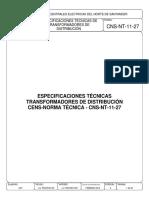 CNS-NT-11-27 ESPECIFICACIONES TÉCNICAS DE TRANSFORMADORES DE DISTRIBUCIÓN..pdf