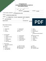 2018 - Pre Registration Form