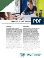 Teaching at Uwc Mahindra College