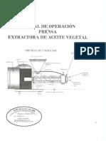 Manual de Operación Prensa Extractora de Aceite Vegetal