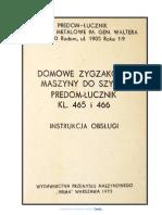 Maszyna Do Szycia PREDOM LUCZNIK 465 i 466 - Instrukcja