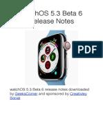WatchOS 5.3 Beta 6 Release Notes