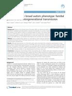 Autismo y el fenotipo amplio del autismo - patrones familiares y transmisión intergeneracional
