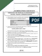 Prova Residência Médica -Medicina da Familia e Comunidade RJ 2016