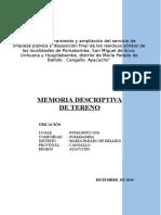 Memoria Descriptiva de Terreno Pomabamba cira