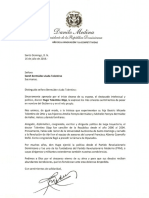 Carta de condolencias del presidente Danilo Medina por fallecimiento de Hugo Tolentino Dipp