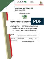 UNIDAD 1 INTRODUCCIÓN AL DISEÑO DE REACTORES PARA SISTEMAS HETEROGÉNEOS