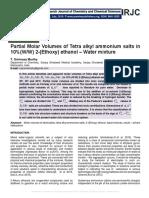 Partial Molar Volumes of Tetra alkyl ammonium salts in 10%(W/W) 2-(Ethoxy) ethanol – Water mixture