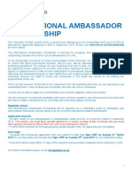 International Ambassador Scholarship Application Form May September 2019