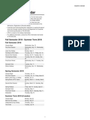 CPCC Academic calendar | Academic Term | Educational Institutions