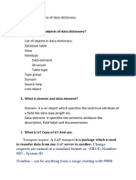 Questions of Data Dictionary