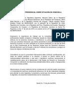 Declaración sobre situación de Venezuela