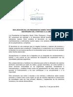 DECLARACIÓN DE LOS PRESIDENTES SOBRE TERRORISMO Y 25° ANIVERSARIO DEL ATENTADO A LA AMIA