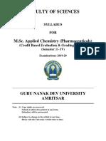 Msc Applied Chemistry Pharmaceuticals Cbegs 2019-20