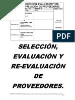 LOGIS PRO - 001 - Seleccion, Evaluacion y Re-evaluación de Proveedores