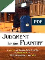 Angelica Hale vs Emporia State University Trial Verdict  (Title VII Retaliation) July 16, 2019  7-16-19