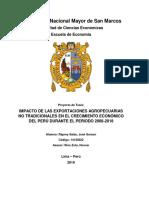 Impacto de Las Exportaciones Agropecuarias No Tradicionales en El Crecimiento Económico Del Perú Durante El Periodo 2008-2018