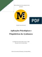 Aplicações Psicológicas e Psiquiátricas Da Ayahuasca