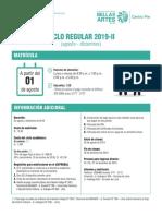 Matrícula Centro Pre Bellas Artes 2019-II