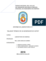 INFORME N° 7-BALANCE TERMICO DE UN GENERADOR DE VAPOR