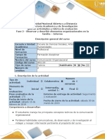 Guía de Actividades y Rúbrica de Evaluación - Fase 2 - Observar y Describir Elementos Organizacionales en La Familia - Informe