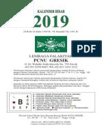 Prototype Kalender 2019 PCNU Gresik